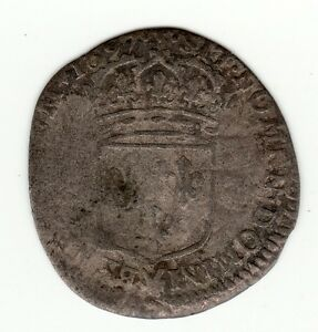 French-Colonial-rare-1697-P-recoined-Sol-of-15-Deniers-Louis-XIV-Dijon-mint