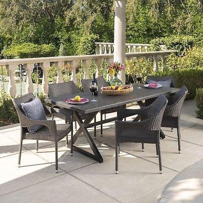 Belham Living Mayotte Chevron Aluminum Wicker Outdoor Storage Table For Sale Online Ebay