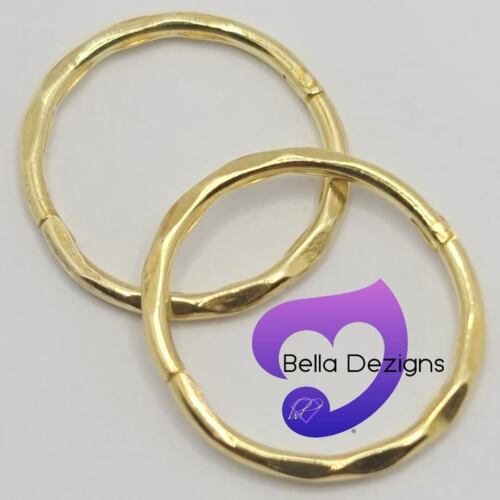22ct YELLOW GOLD PLATED on Solid Sterling Silver Hinged Sleeper Earring 14mm
