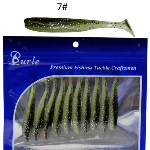 10pcs//set Soft Fake Fish Lures Baits 7cm//2g T Tail Soft Lure Fishing Tackle YRDE