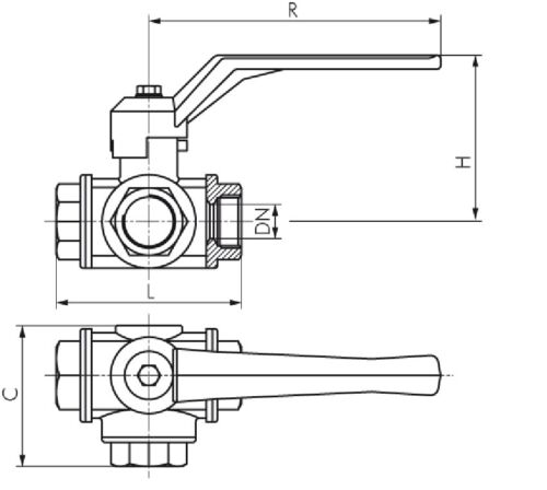 "3-wege-kugelhahn 3//4 /"" L-Bore Pn35 Industrial Quality"