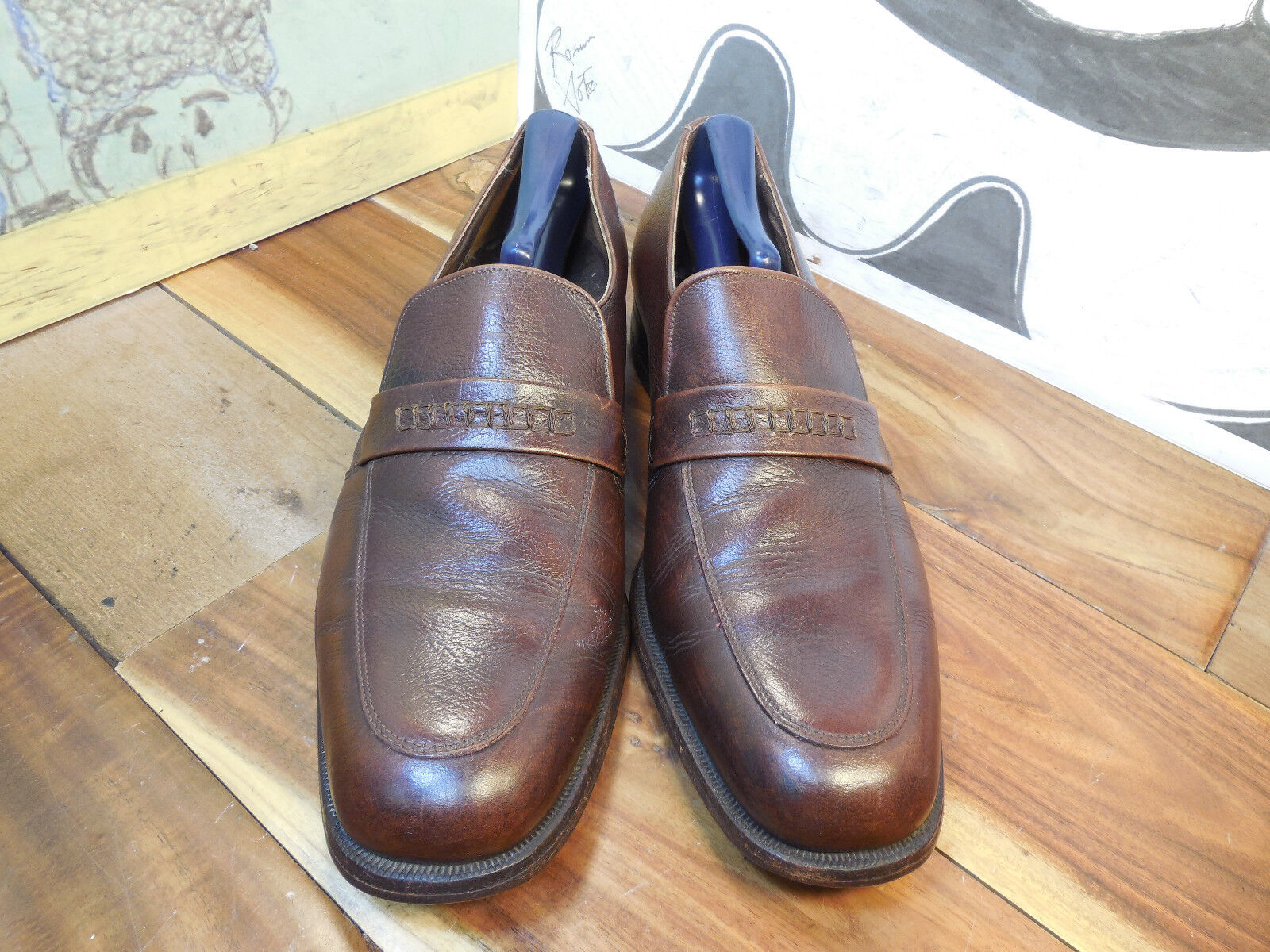 Florsheim Brown Loafers Leather Loafers Brown Men's 9.5B Vintage 471ebc