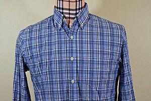 Brooks-Brothers-Mens-Oxford-Blue-Black-White-Plaid-Check-Shirt-Medium