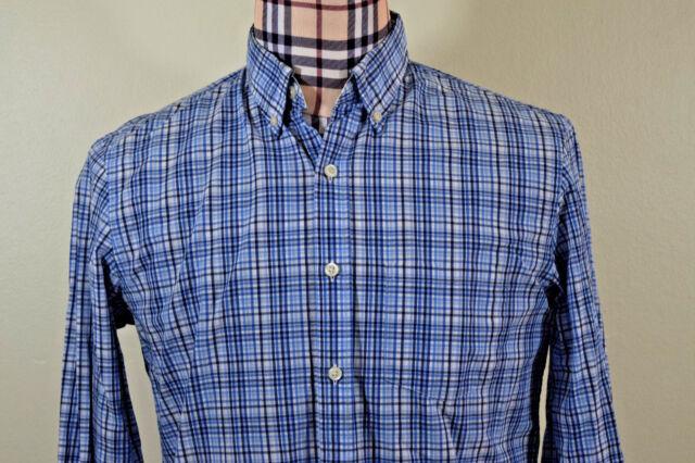 Brooks Brothers Mens Oxford Blue Black White Plaid Check Shirt Medium