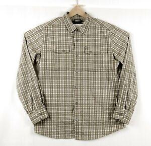 Jack-Wolfskin-homme-XL-a-domicile-exterieur-a-manches-longues-marron-carreaux-Randonnee-Shirt