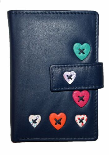 Mala Leather Small Bank//Credit card holder Style Lucy 61230 Colour  Navy New