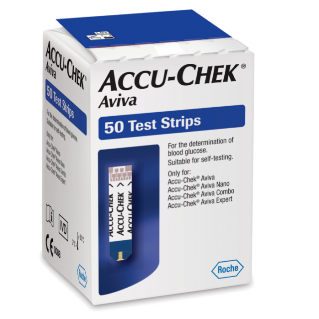 50 Accu-chek Aviva strisce reattive diabete test glucosio scadenza: 31-01-2022