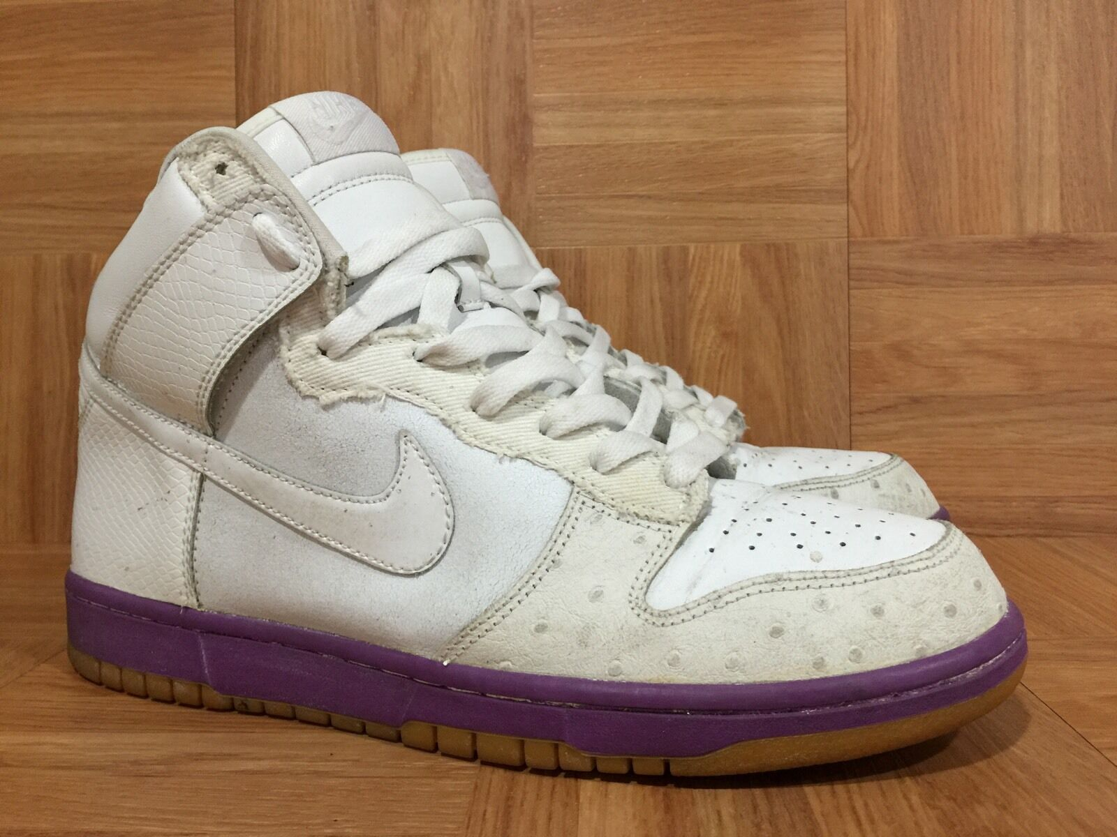 RARE Nike Dunk High Deluxe White Ostrich Hyacinth Purple Gum Sz 9.5 312032-111