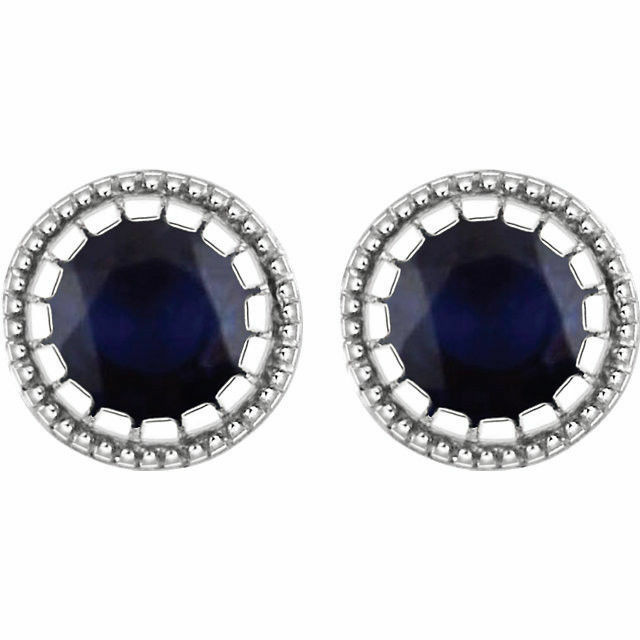 Genuine Sapphire 4 mm Round Cut Gemstones Studs in 14K Solid White gold Earrings
