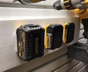 4x Dewalt 20v 60v Battery Mounts Works On Shelves Walls