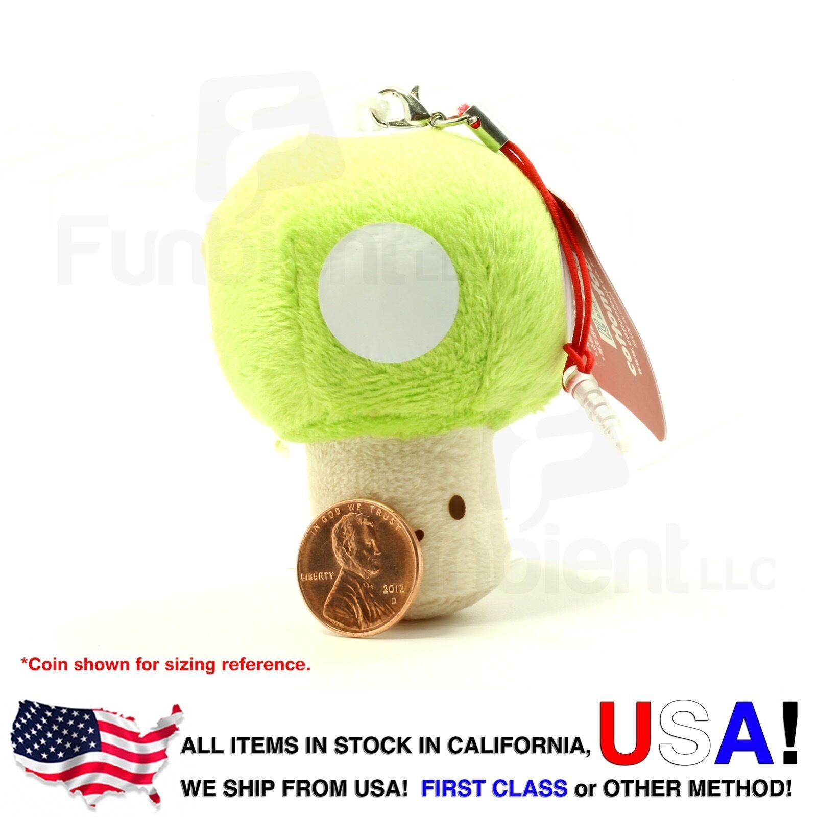 Green Mushroom - Cotton Foods smart phone anti dust plug plush charm wiper