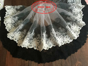 25cm-1yard-Delicate-white-embroidered-flower-tulle-lace-trim-Sewing-DIY-FL123