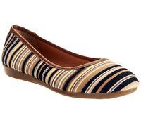 Liz Claiborne York Striped Canvas Flats W/ Faux Leather Trim Pick Size & Co
