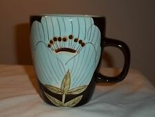LAURIE GATES MADISON COFFEE MUG LARGE CHOCOLATE TURQUOISE GREEN FLOWERS DISCONT