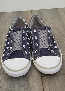 GIRLS PINK HEART POLKA DOT CANVAS CASUAL TRAINERS PUMPS SHOES KIDS SIZE 4-12