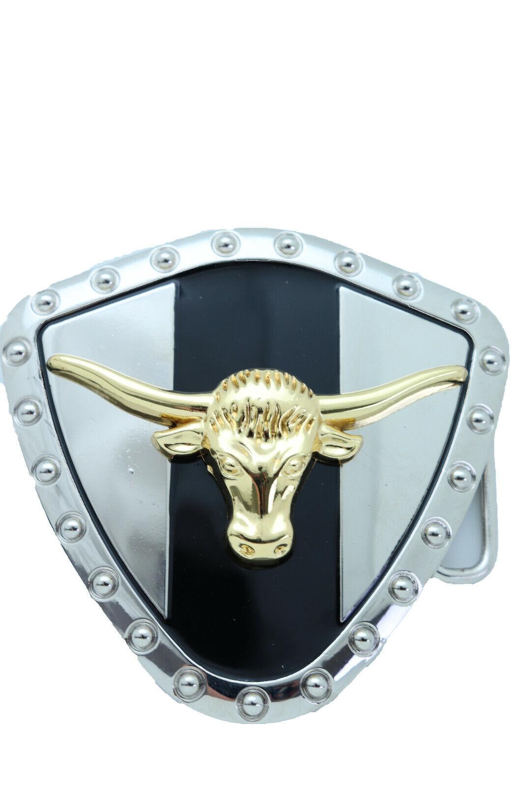 Herren Damen Silber Metal Modische Western Schnalle Texas Lone Hupe Kuh Bulle