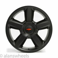 4 Chevy Suburban Tahoe Ltz Matte Black 20 Wheels Rims Red Bowtie 5308