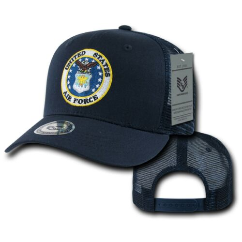 Navy Blue United States US Air Force USAF Wings Logo Mesh Trucker Ball Cap Hat