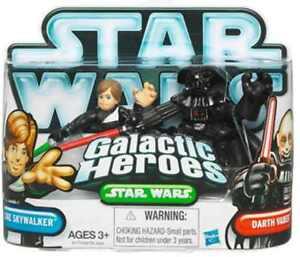 STAR-WARS-Galactic-Heroes-Luke-SkyWalker-amp-Darth-Vader-action-figures