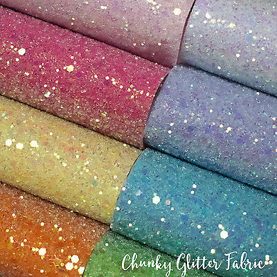 Chunky Glitter Sheets Sheet Fabric 30 Colours A4 a5 Crafts Bows Cotton Backed