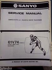 SANYO Vintage Original Black and White Television 61V74 Code 2 Service Manual