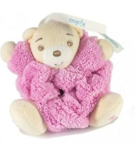 Mini-doudou-ours-Kaloo-rose-plume-attache-tetine-10-cm