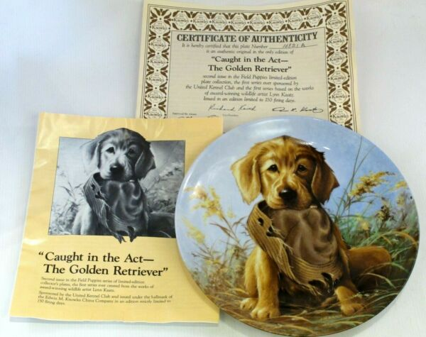 """caught In The Act - The Golden Retiever"" Dog Puppy Display Plate Knowles"