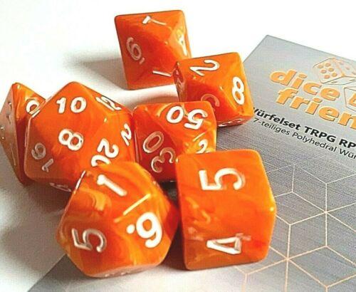 RPG Würfel 7-teilig Set Poly DND Rollenspiel Orange Tabletop dice4friends w4-W20