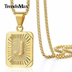 18-034-30-034-para-Mujer-Hombre-Oro-Lleno-A-Z-Letra-Inicial-Collar-Colgante-Cadena-De-Acero
