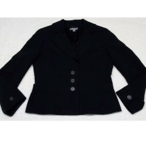 ANN-TAYLOR-Women-039-s-Size-6-3-Button-Triacetate-Lined-Black-Blazer-Career-Jacket