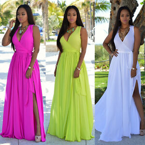 Women Sexy Summer Dress Boho Maxi Long Evening Party Dress Beach ...