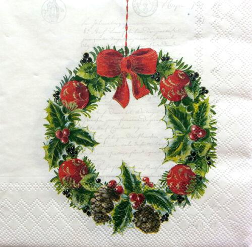 4 vintage table serviettes en papier pour découpage déjeuner Craft Noël 12 Art W//17