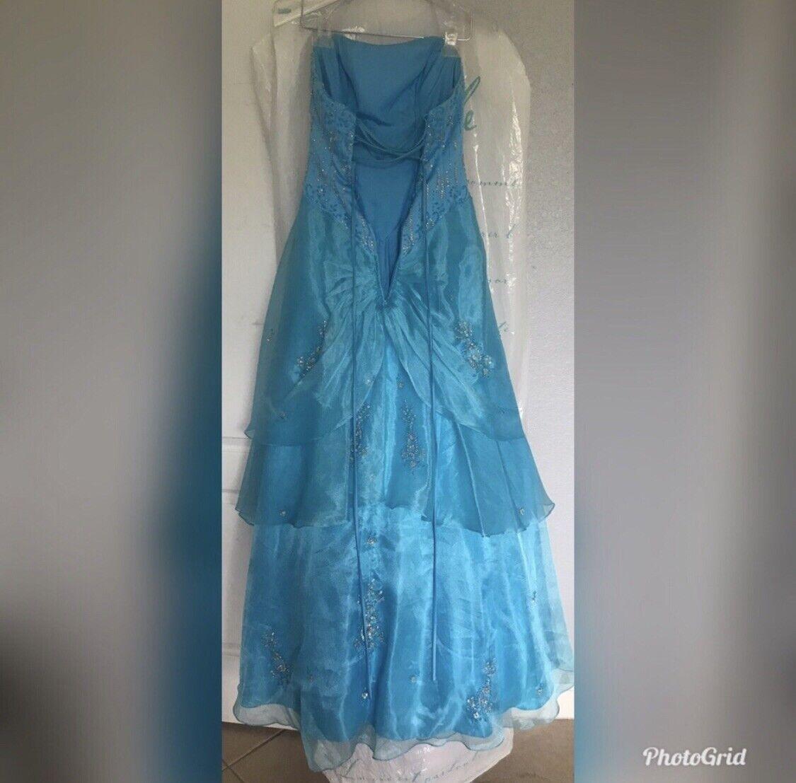 blue ball gown dress - image 2