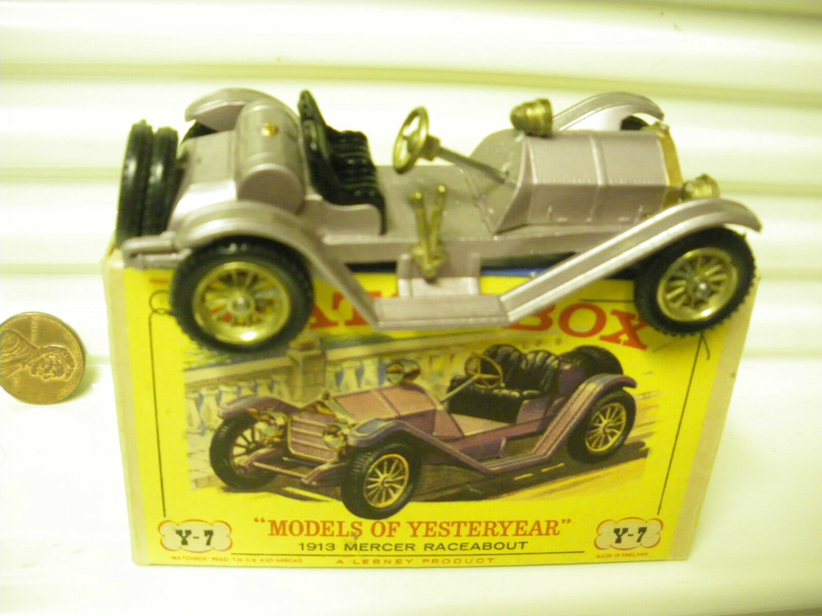 MATCHBOX 1961 Yesteryear Y7 violets 1913 MERCER RACEABOUT TYPE 1 Garde-boue Comme neuf BXD