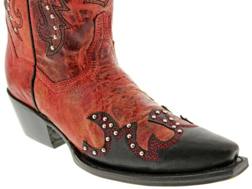 Womens Red Western Cowgirl Leather Boots Overlay Design Snip Toe
