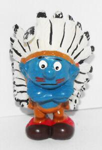 20144-Indian-Chief-Smurf-2-inch-Plastic-Figurine-2-inch-Vintage-Figure