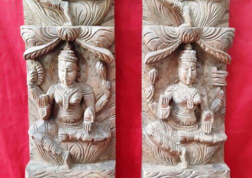 Hindu Temple Ashta Lekshmi Vertical Panel Devi Lakshmi Wooden Wall Statue Pair