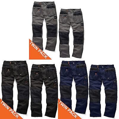 Scruffs Worker Plus Twin Pack Pantaloni Lavoro Grafite Grigio Blu Scuro Nero Resistente-mostra Il Titolo Originale Con Una Reputazione Da Lungo Tempo