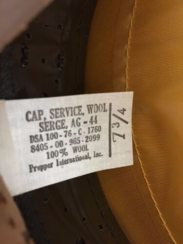 ARMY ENLISTED MAN/'S SERVICE GARRISON CLASS A DRESS CAP UNISSUED U.S 7 1//8