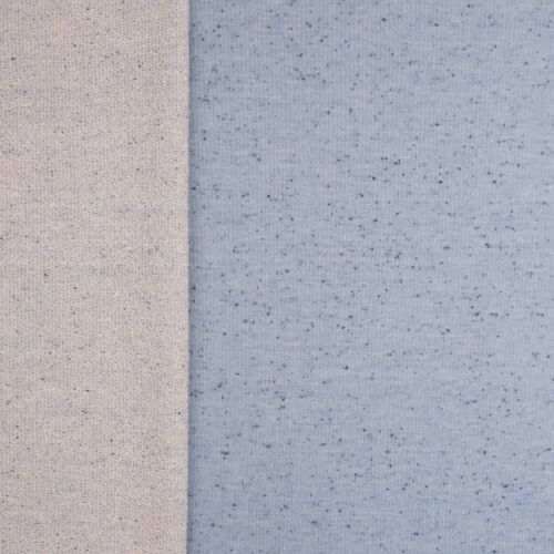 French Terry Sommersweat blau meliert mit eingewebten Fäden dunkelblau