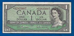 CANADA-1954-asterisk-Canadian-one-1-DOLLAR-BILL-NOTE-prefix-B-M