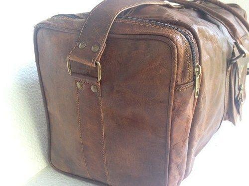 """24/""""Men/'s genuine Leather luggage gym clothing overnight duffle bag large vintage"""