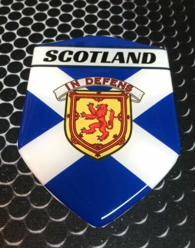 "Scotland Flag Proud Shield Flag Domed Decal Emblem Car Sticker 3D 2.3/""x 3.3/"""