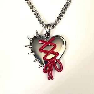 Gothic-Horror-Punk-Goth-80s-90s-Metal-Spiked-Red-Ribbon-Heart-Pendant-Necklace