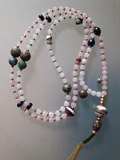 Buddhist White Jade- Rose Quartz 6MM Mala w/ White Resin and Coral Guru Bead