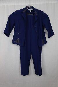Womens-Sag-Harbor-Size-10P-Blue-2-Pc-Pant-Suit-H0-14