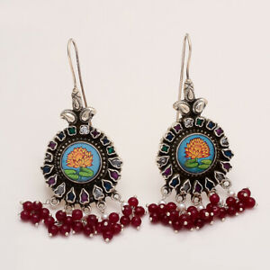 Natural-Emerald-Ruby-Signet-Earrings-925-Sterling-Silver-Tribal-Old-Jewelry-Gift