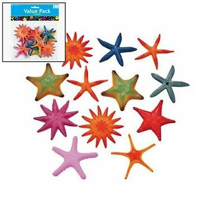 24 Colorful Plastic Starfish Assortment Hawaiian Luau Tropical Beach Party Decor