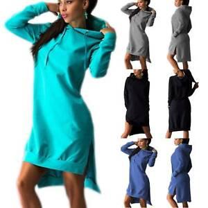 Womens-Hoodies-Mini-Dress-Pullover-Hooded-Jumper-Long-Sleeve-Casual-Sweater-Tops