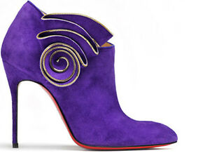 uk availability 2c8b5 d918d Details about $1395 NEW Christian Louboutin MRS Baba 100 Ankle Boots Purple  Suede Shoes 40
